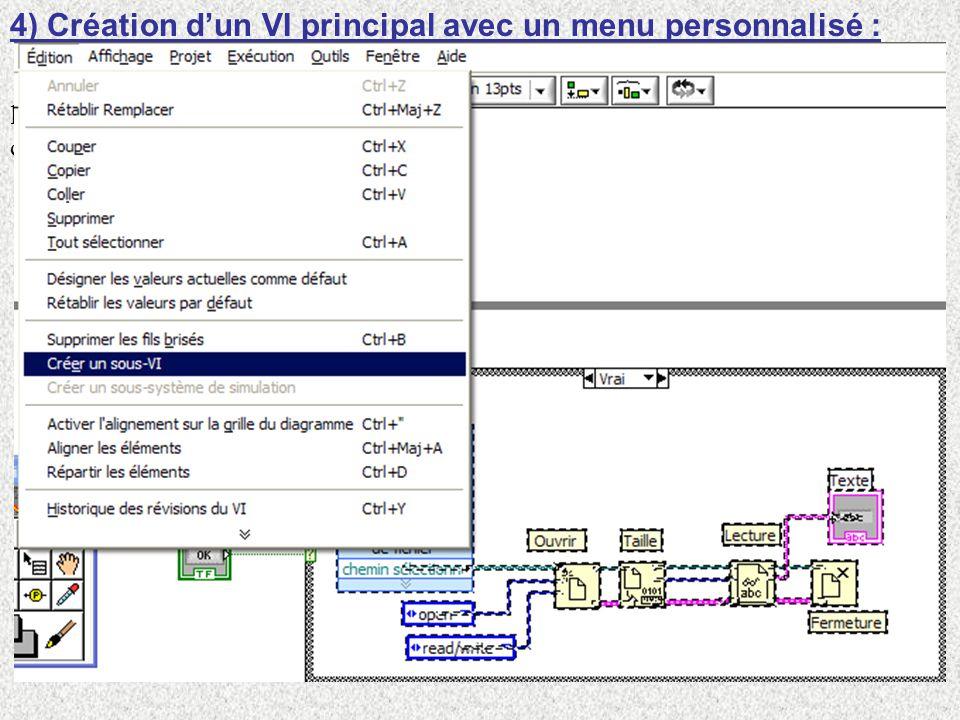4) Création d'un VI principal avec un menu personnalisé :