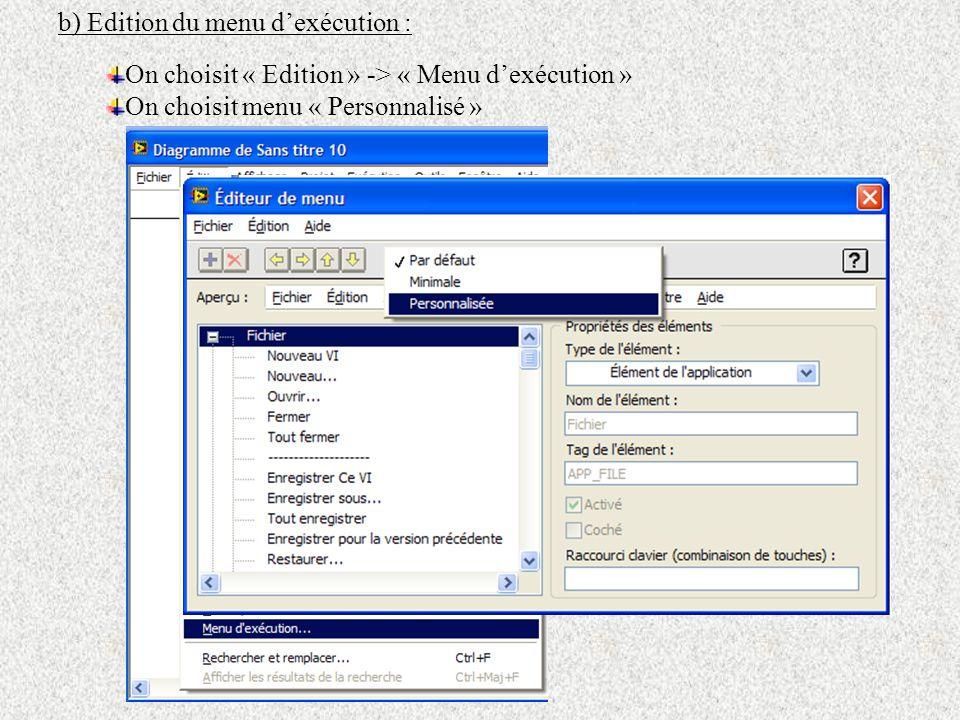 b) Edition du menu d'exécution :