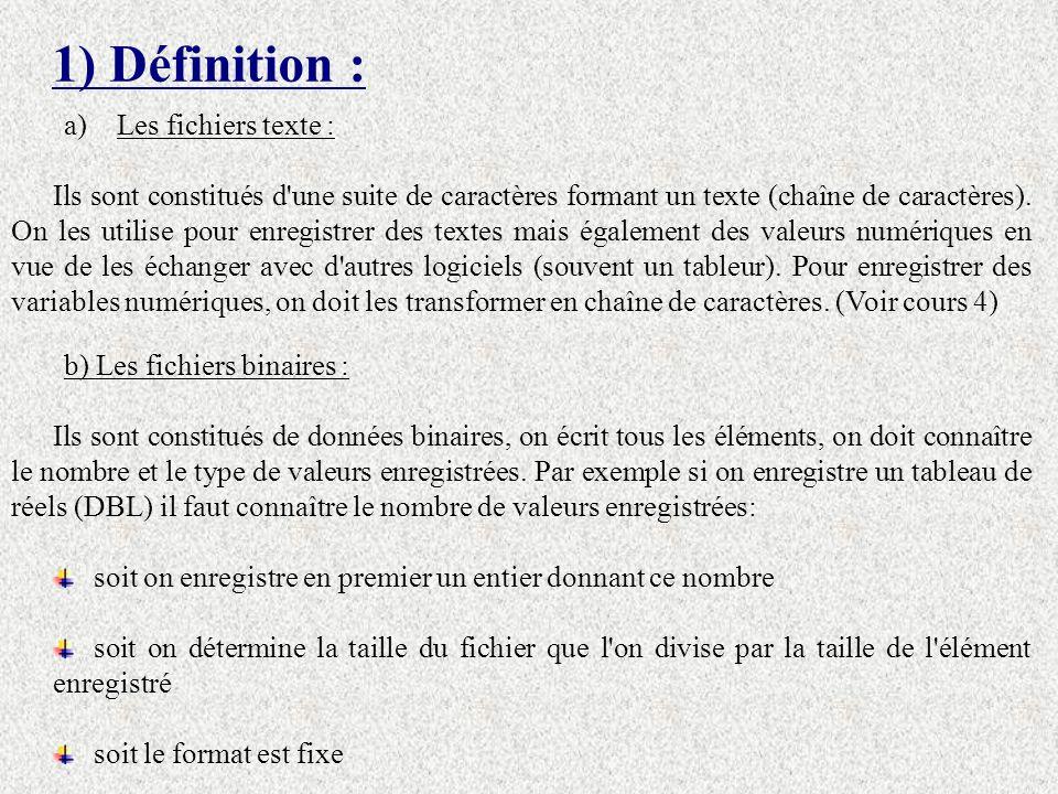 1) Définition : Les fichiers texte :