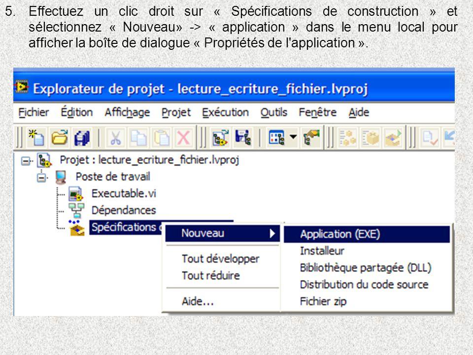Effectuez un clic droit sur « Spécifications de construction » et sélectionnez « Nouveau» -> « application » dans le menu local pour afficher la boîte de dialogue « Propriétés de l application ».