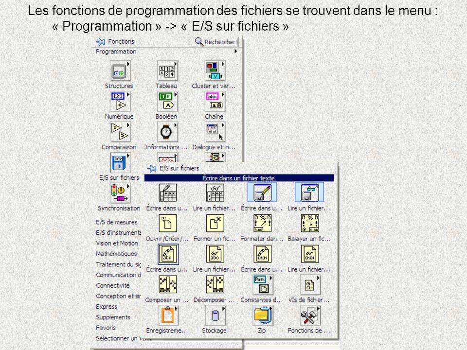 Les fonctions de programmation des fichiers se trouvent dans le menu :