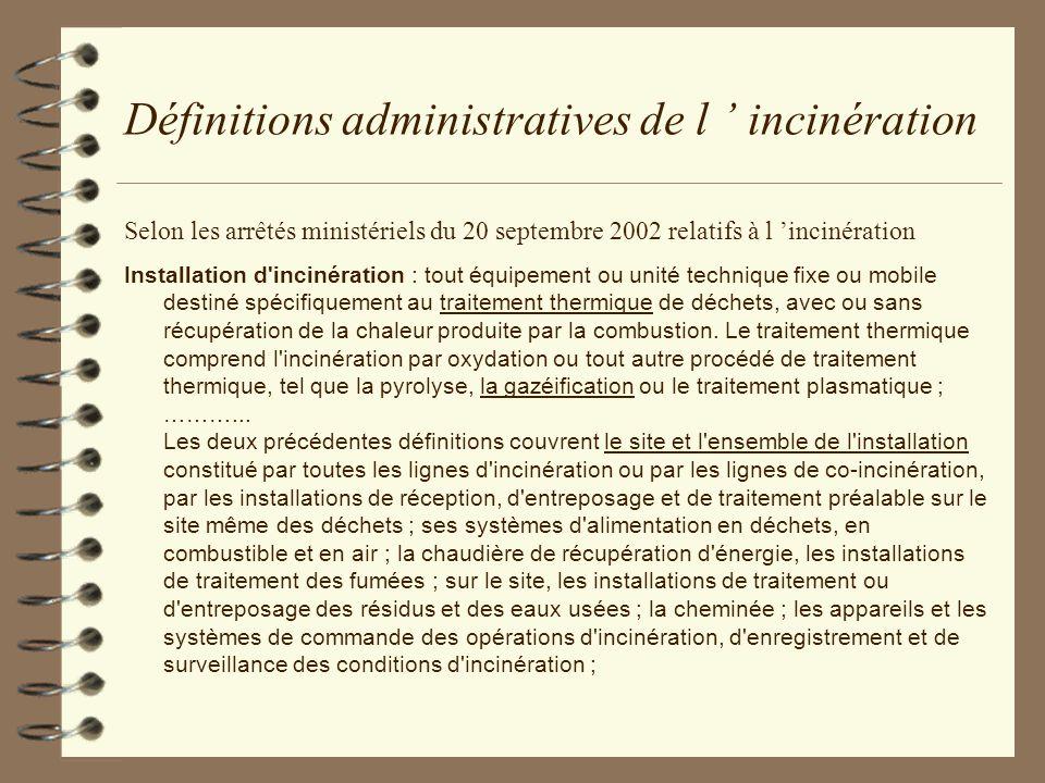 Définitions administratives de l ' incinération
