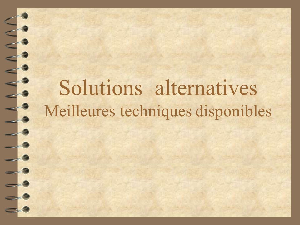 Solutions alternatives Meilleures techniques disponibles