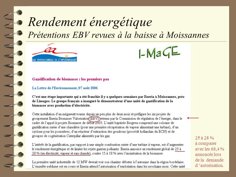 Rendement énergétique Prétentions EBV revues à la baisse à Moissannes