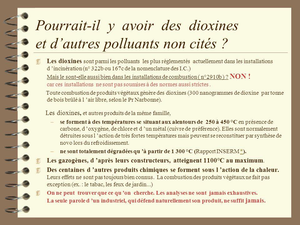 Pourrait-il y avoir des dioxines et d'autres polluants non cités