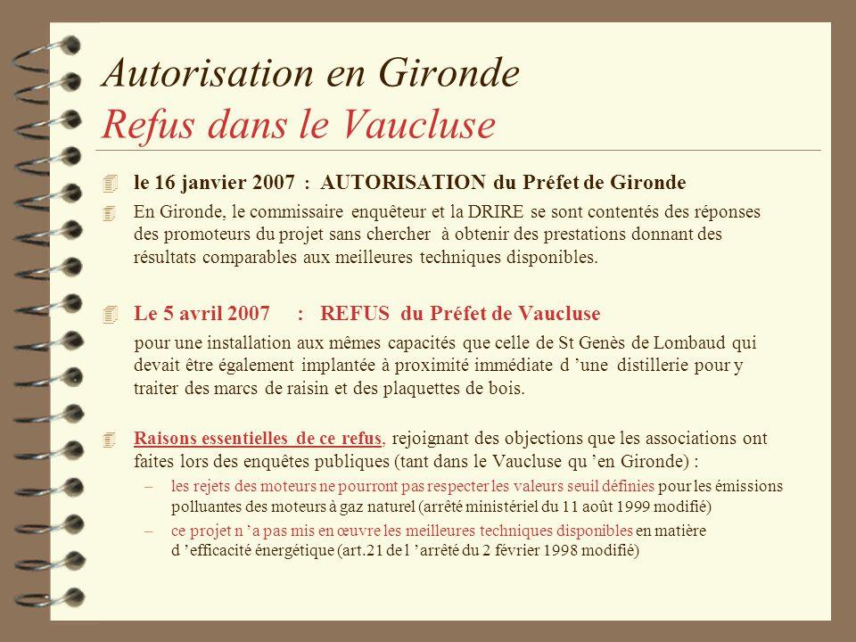 Autorisation en Gironde Refus dans le Vaucluse