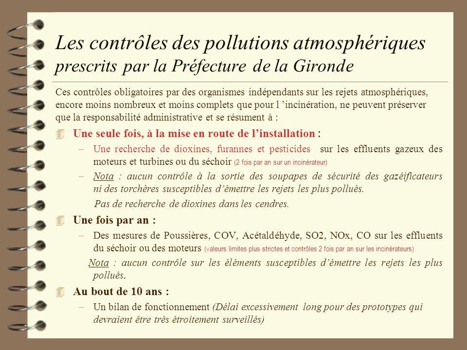 Les contrôles des pollutions atmosphériques prescrits par la Préfecture de la Gironde
