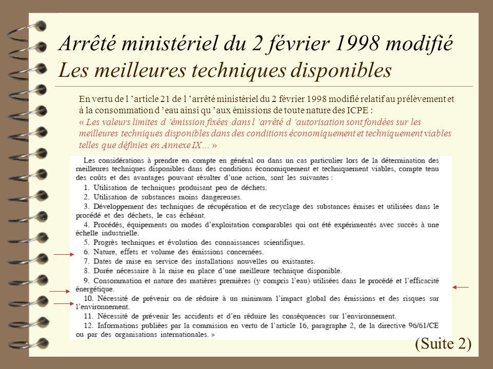 Arrêté ministériel du 2 février 1998 modifié Les meilleures techniques disponibles