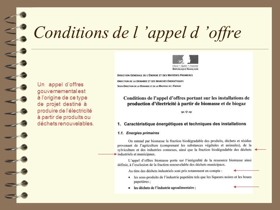Conditions de l 'appel d 'offre