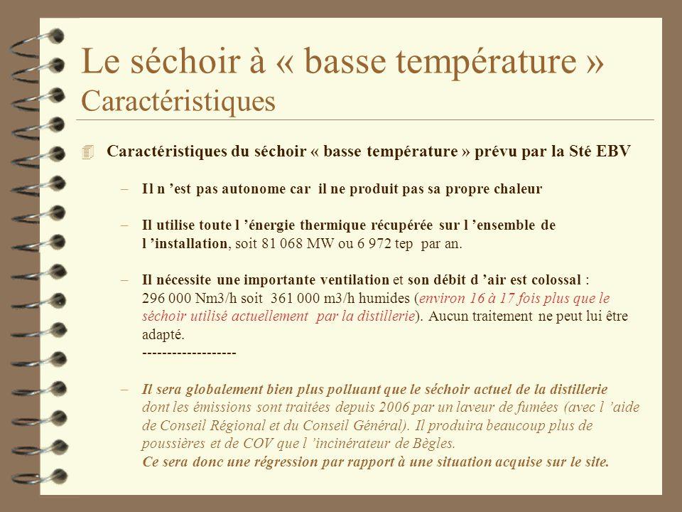 Le séchoir à « basse température » Caractéristiques