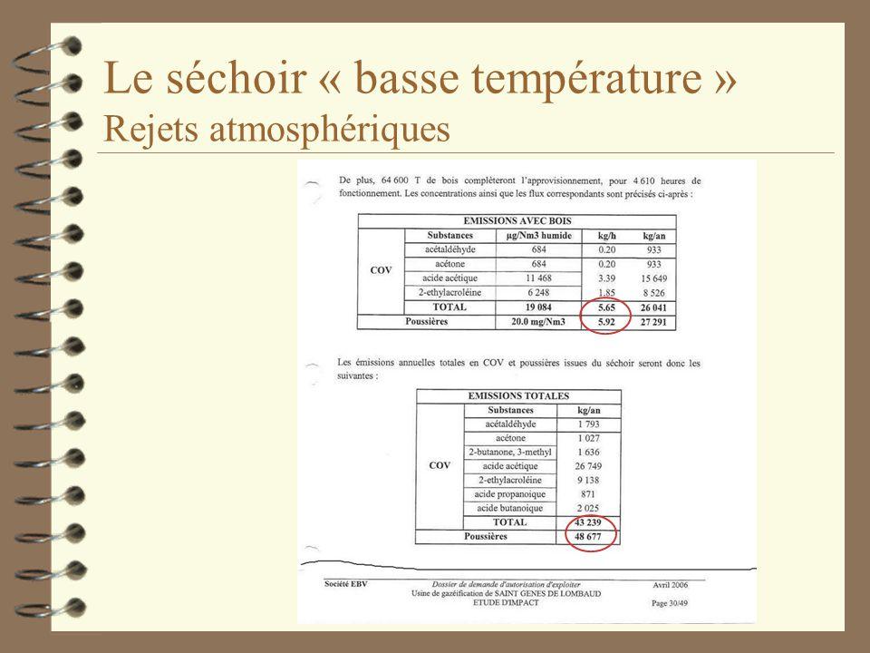 Le séchoir « basse température » Rejets atmosphériques