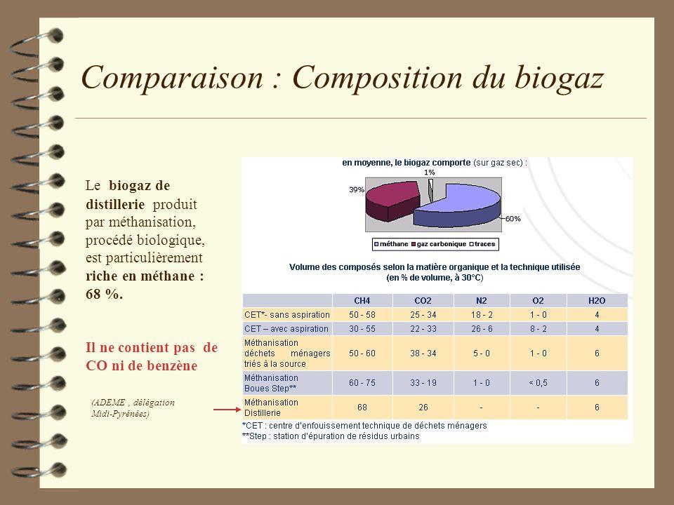 Comparaison : Composition du biogaz