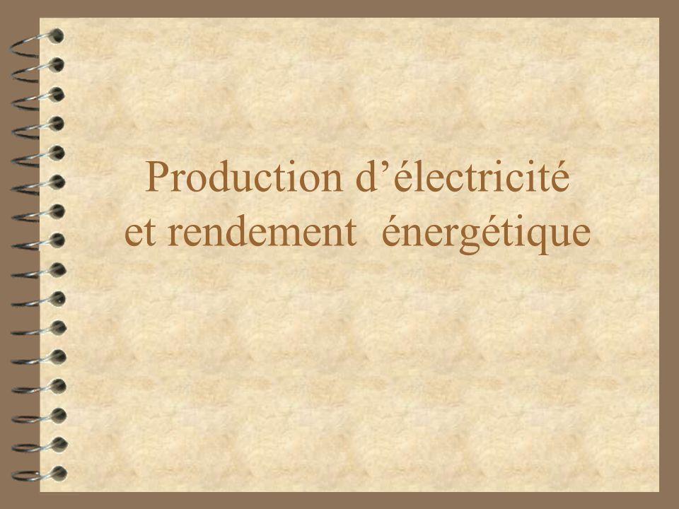 Production d'électricité et rendement énergétique