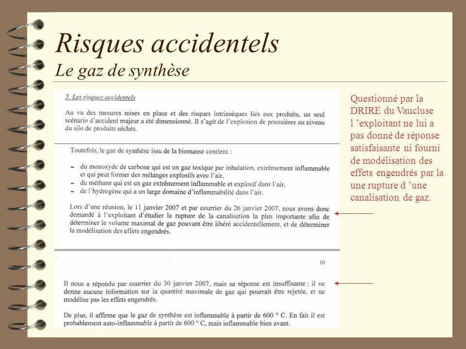 Risques accidentels Le gaz de synthèse