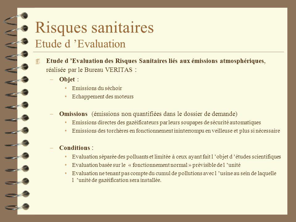 Risques sanitaires Etude d 'Evaluation
