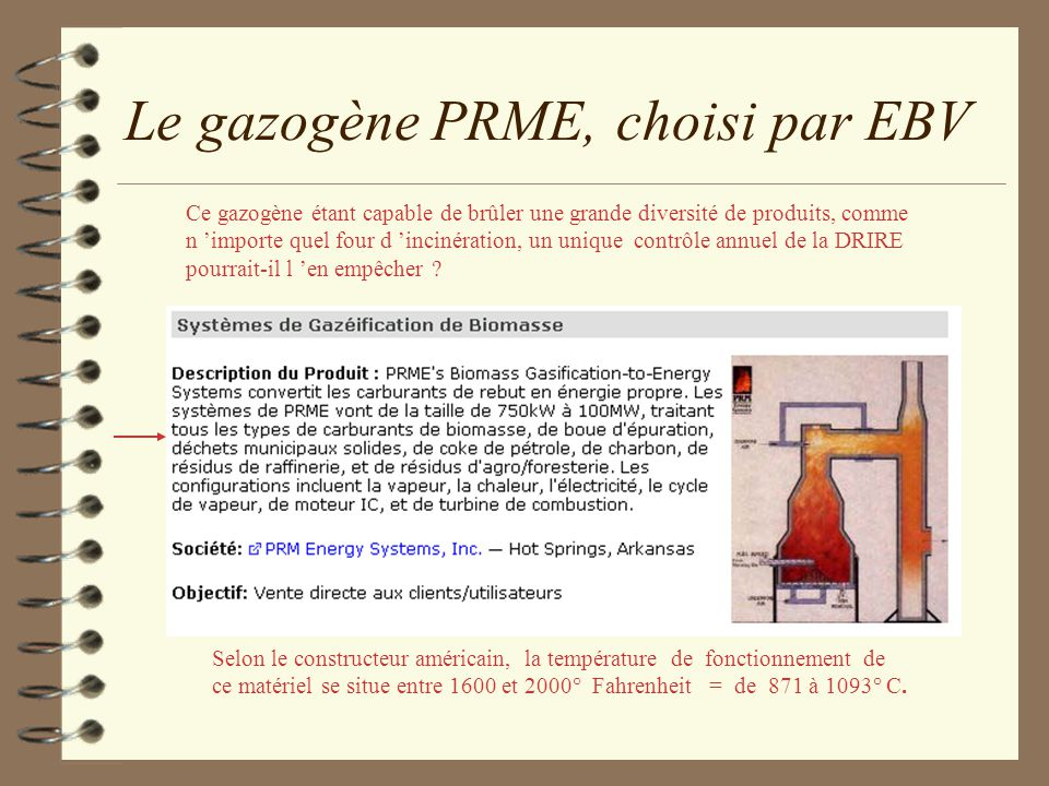 Le gazogène PRME, choisi par EBV