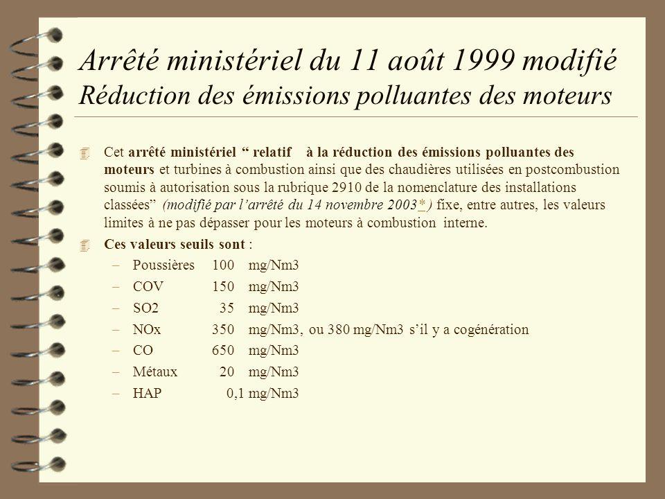 Arrêté ministériel du 11 août 1999 modifié Réduction des émissions polluantes des moteurs