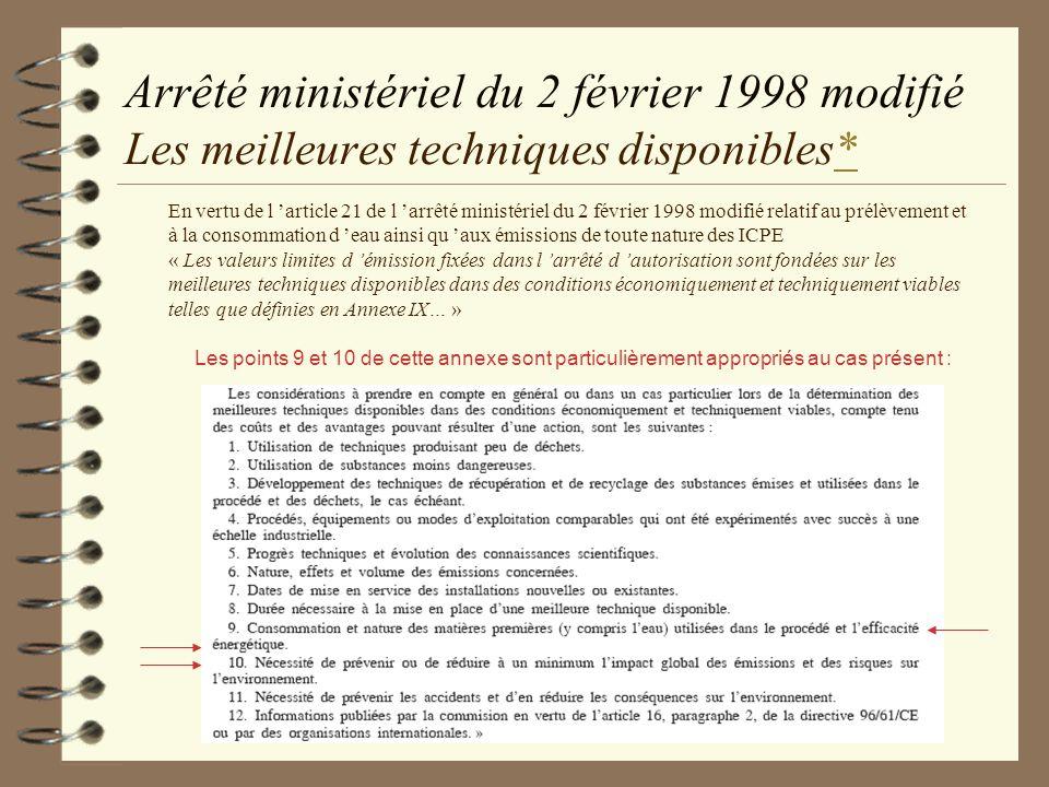 Arrêté ministériel du 2 février 1998 modifié Les meilleures techniques disponibles*
