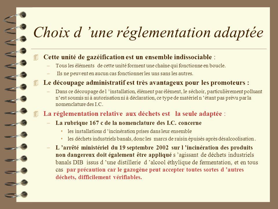 Choix d 'une réglementation adaptée