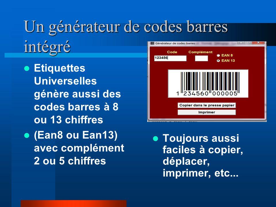 Un générateur de codes barres intégré