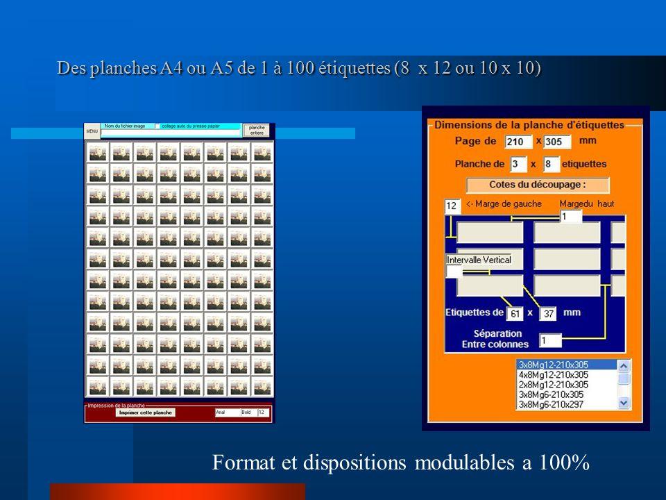 Des planches A4 ou A5 de 1 à 100 étiquettes (8 x 12 ou 10 x 10)
