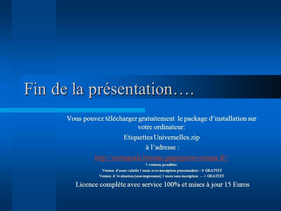Fin de la présentation….