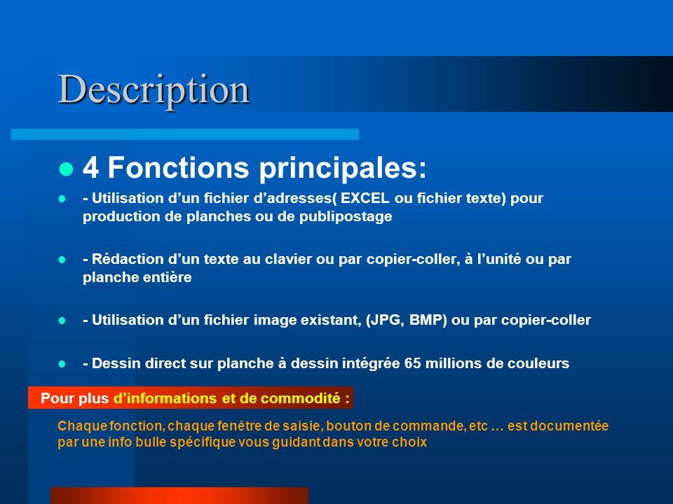 Description 4 Fonctions principales: