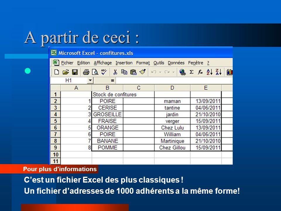 A partir de ceci : C'est un fichier Excel des plus classiques !