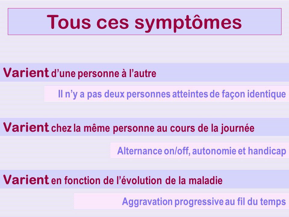 Tous ces symptômes Varient d'une personne à l'autre