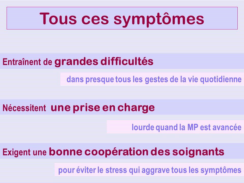 Tous ces symptômes Entraînent de grandes difficultés