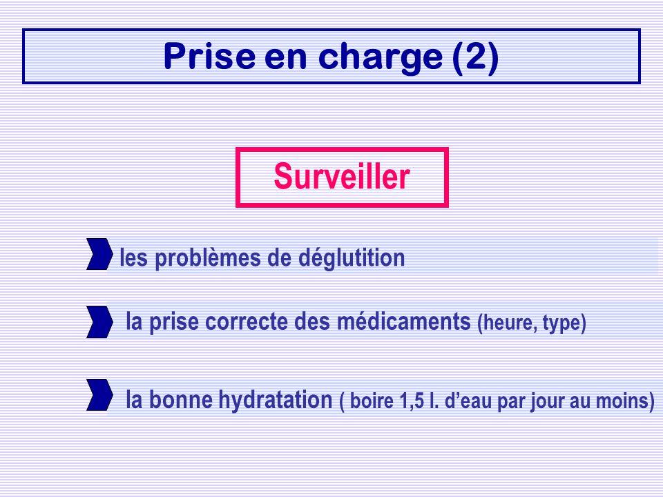 Prise en charge (2) Surveiller les problèmes de déglutition