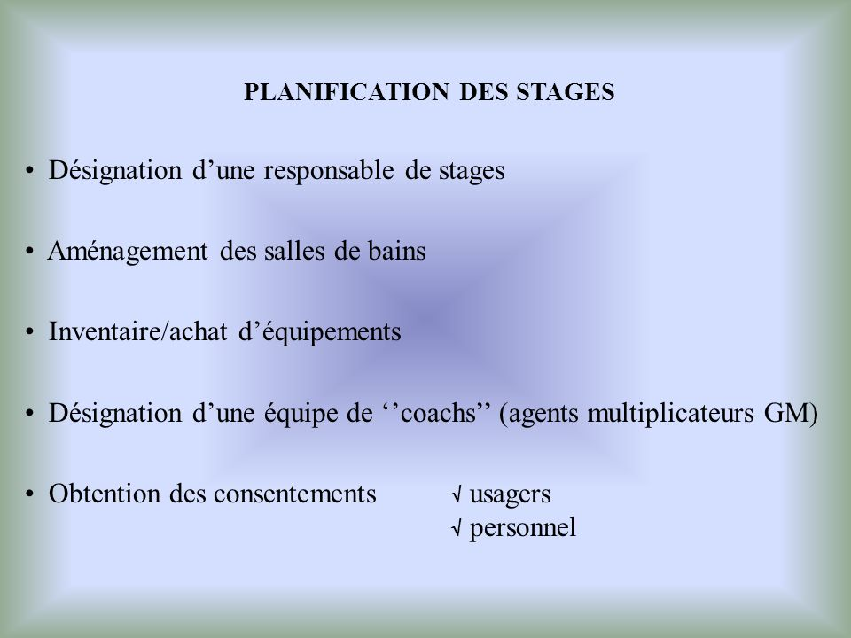 PLANIFICATION DES STAGES