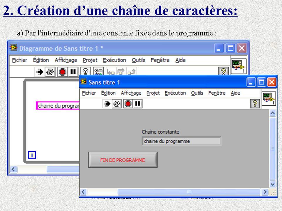 2. Création d'une chaîne de caractères: