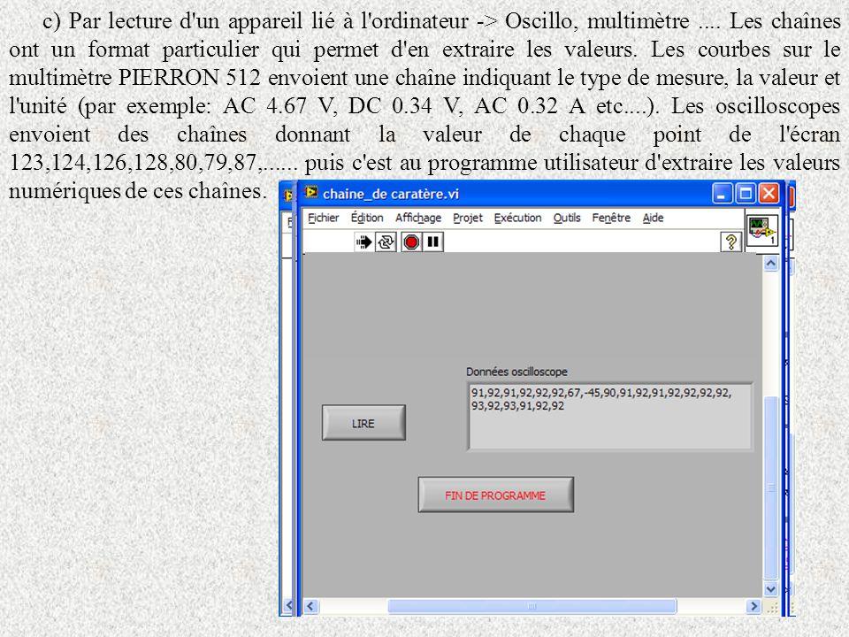 c) Par lecture d un appareil lié à l ordinateur -> Oscillo, multimètre ....
