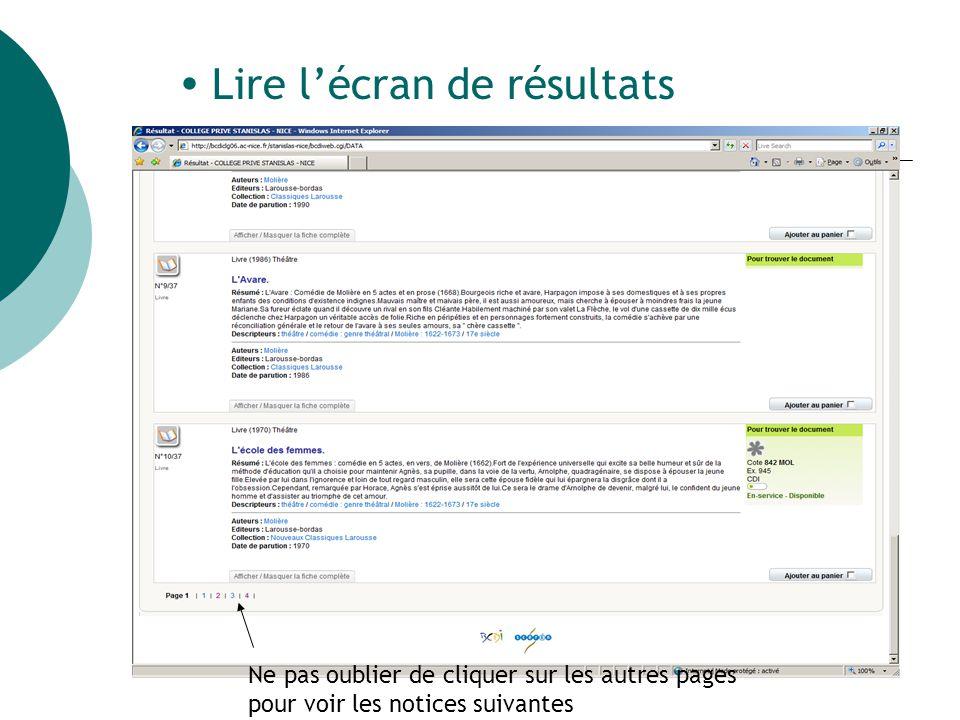  Lire l'écran de résultats