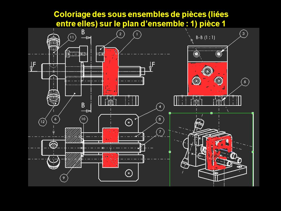 Coloriage des sous ensembles de pièces (liées entre elles) sur le plan d'ensemble : 1) pièce 1