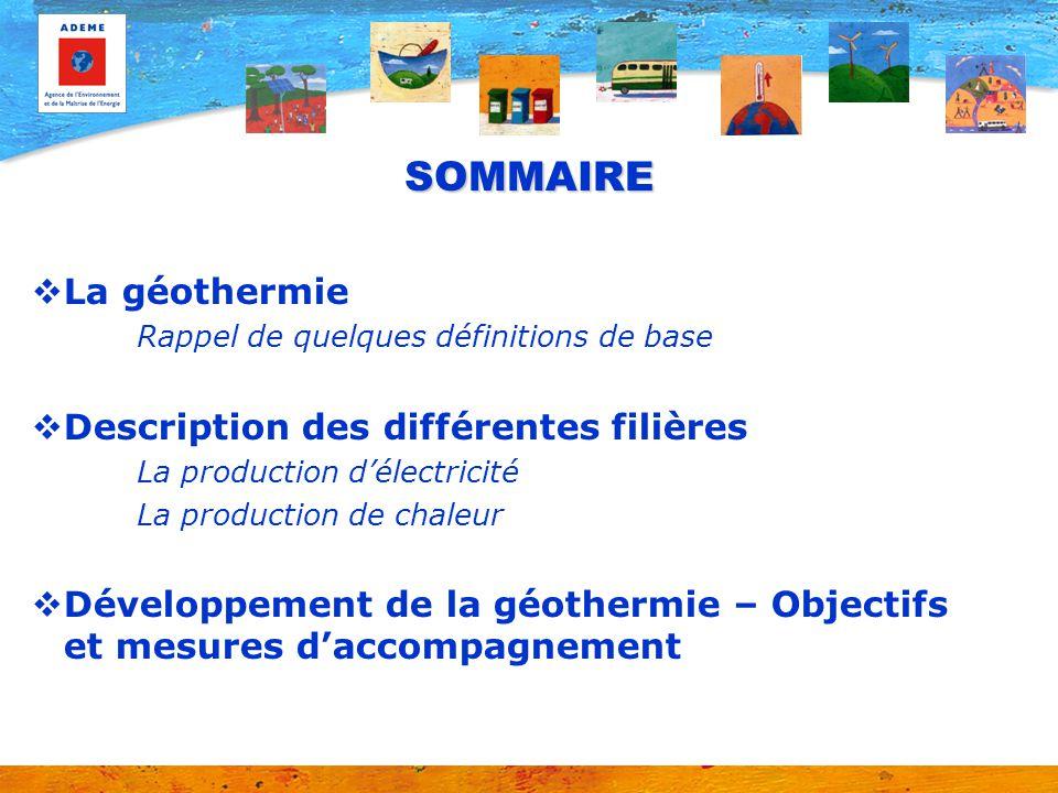 SOMMAIRE La géothermie Description des différentes filières