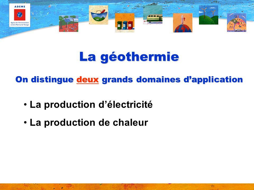 La géothermie On distingue deux grands domaines d'application