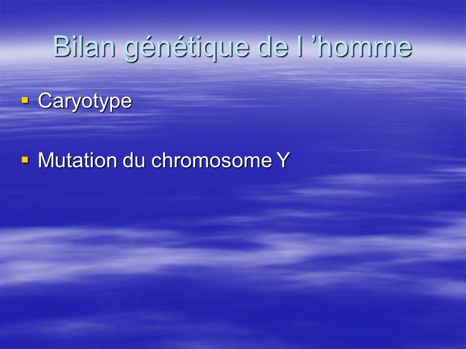 Bilan génétique de l 'homme