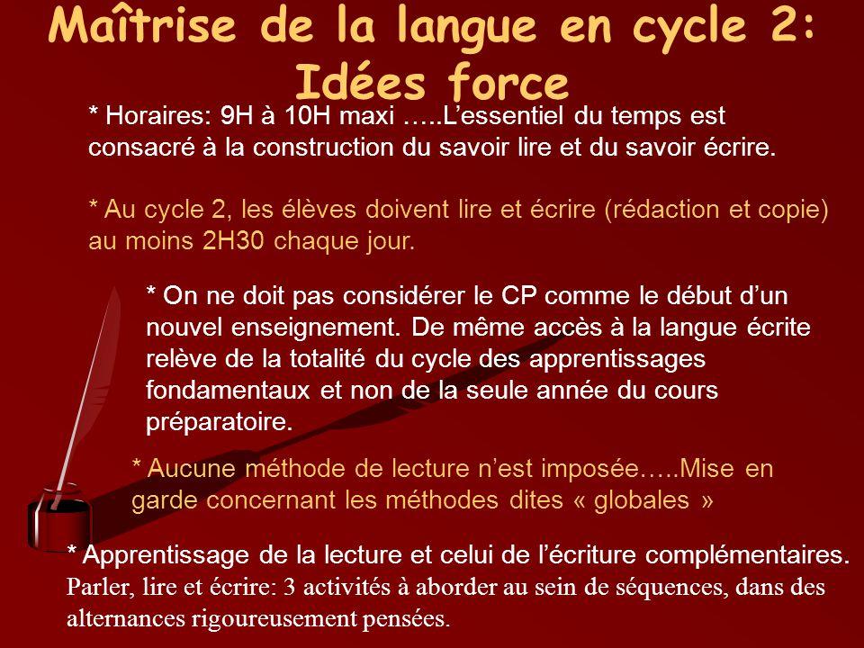 Maîtrise de la langue en cycle 2: Idées force