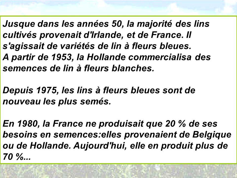 Jusque dans les années 50, la majorité des lins cultivés provenait d Irlande, et de France. Il s agissait de variétés de lin à fleurs bleues.