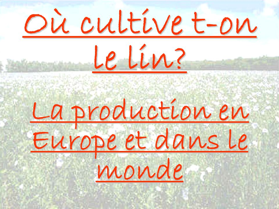 La production en Europe et dans le monde