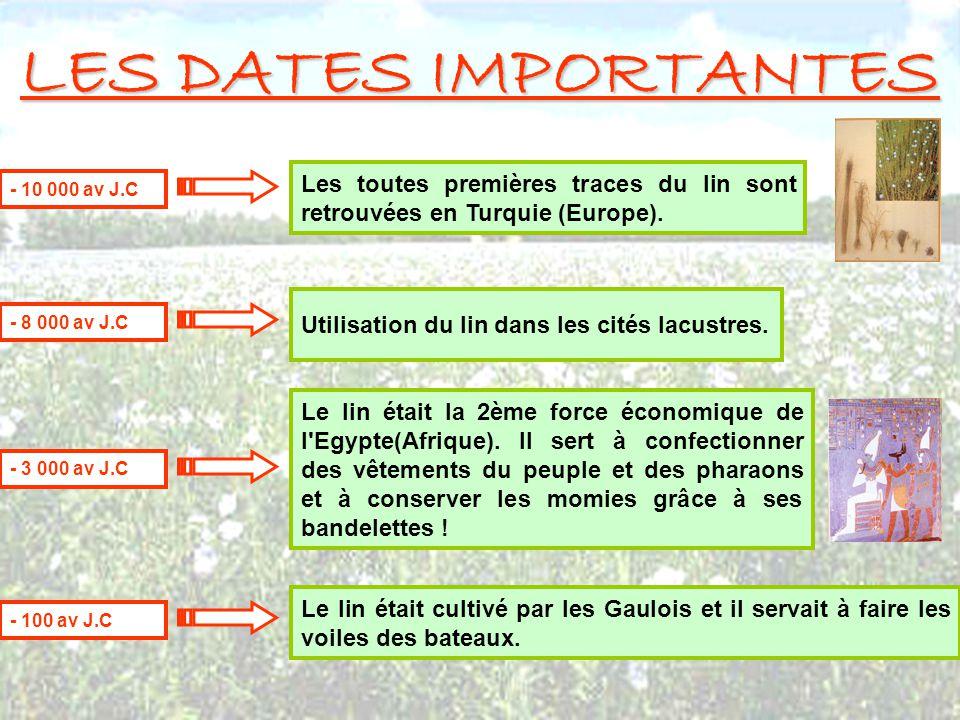 LES DATES IMPORTANTES Les toutes premières traces du lin sont retrouvées en Turquie (Europe). - 10 000 av J.C.