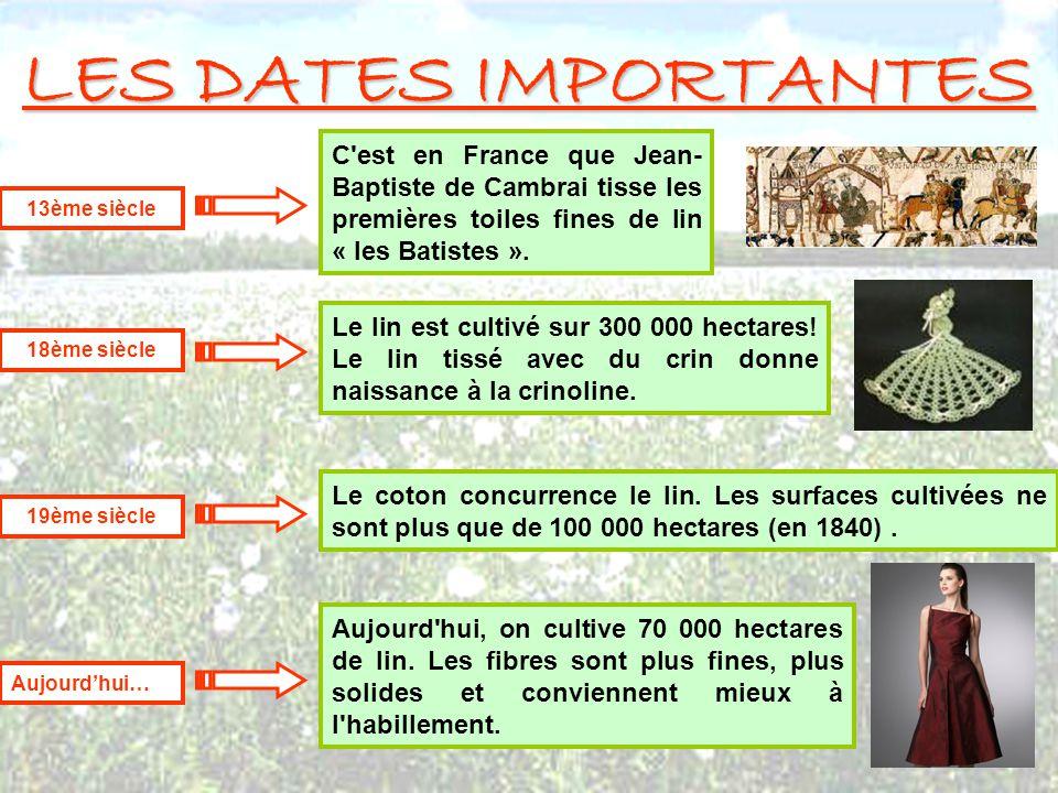 LES DATES IMPORTANTES C est en France que Jean-Baptiste de Cambrai tisse les premières toiles fines de lin « les Batistes ».