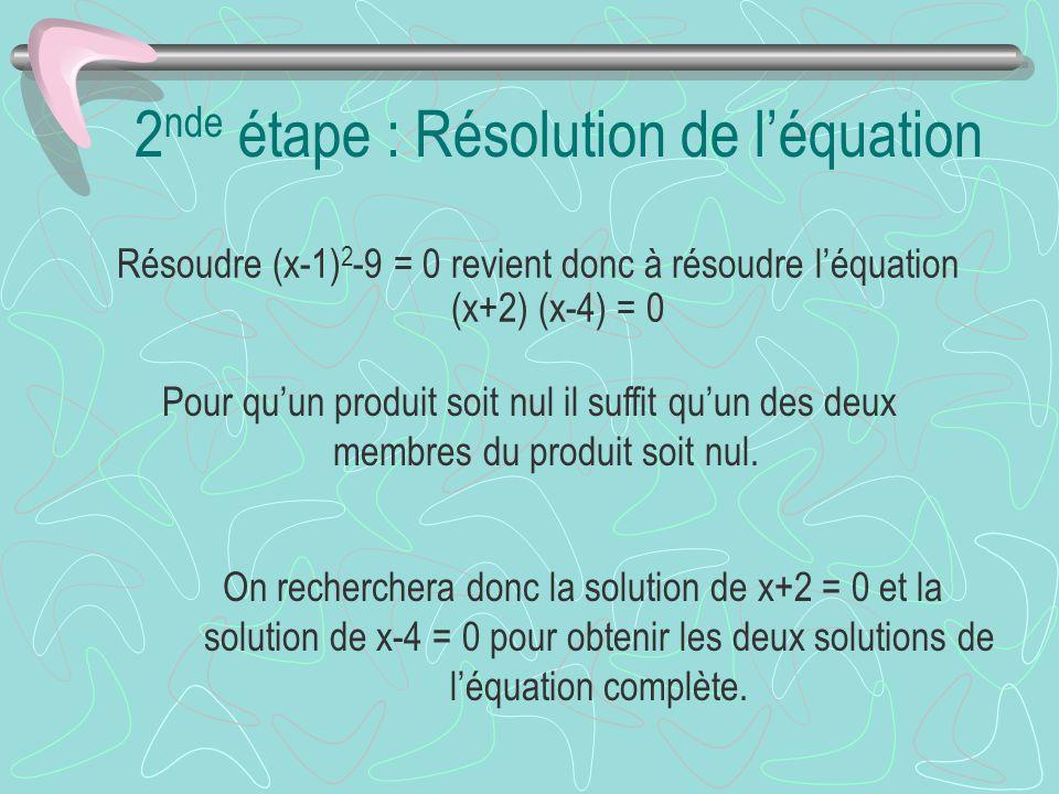 2nde étape : Résolution de l'équation