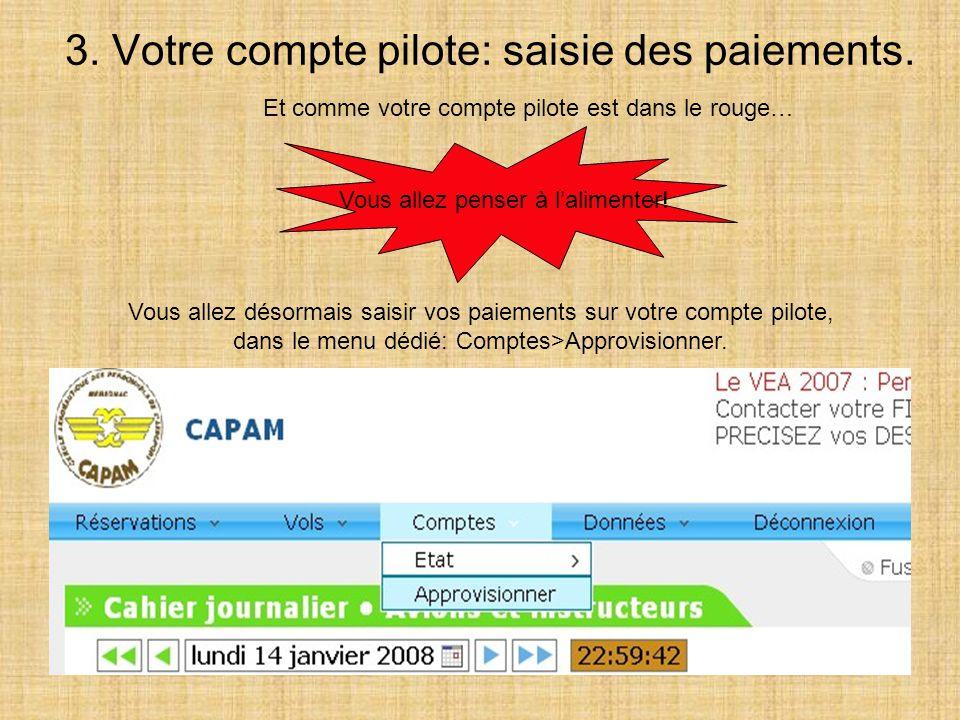 3. Votre compte pilote: saisie des paiements.