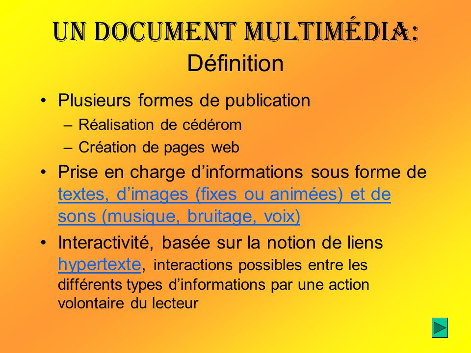 Un document multimédia: Définition