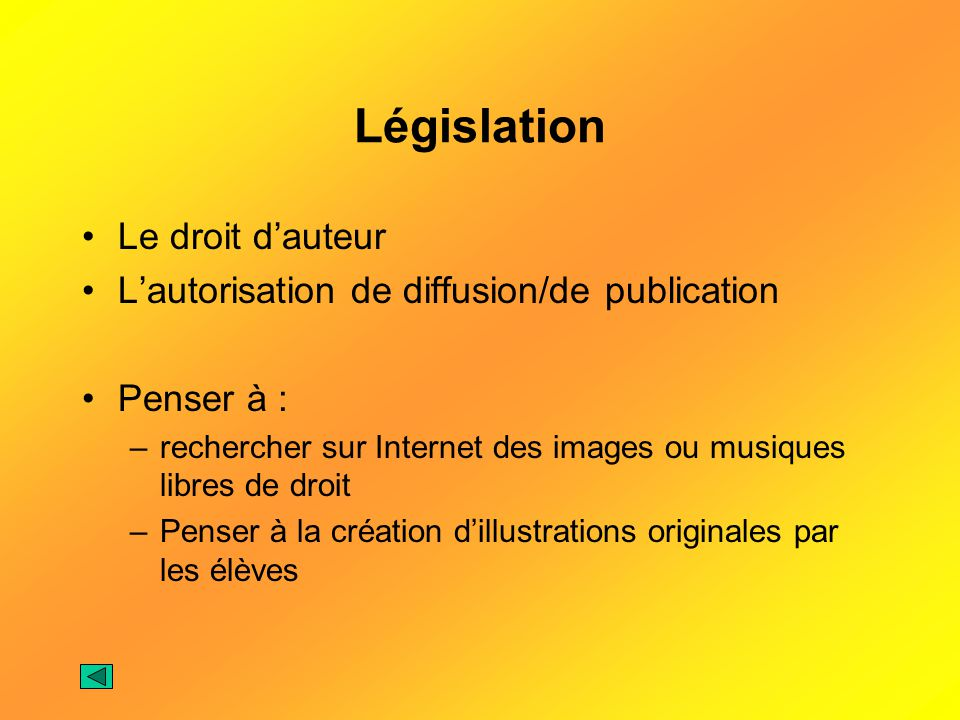 Législation Le droit d'auteur