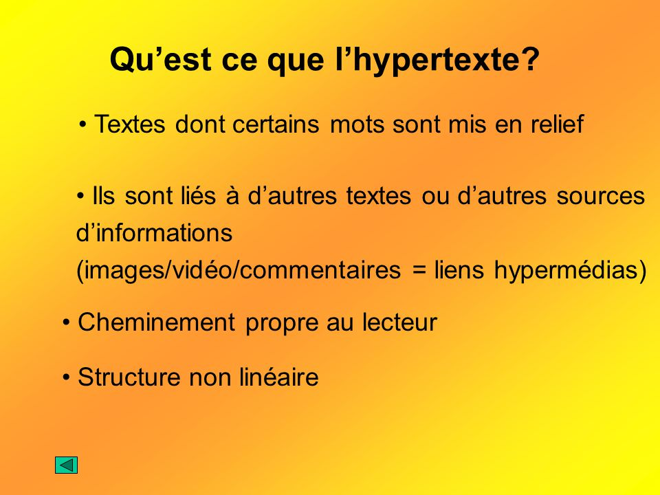Qu'est ce que l'hypertexte