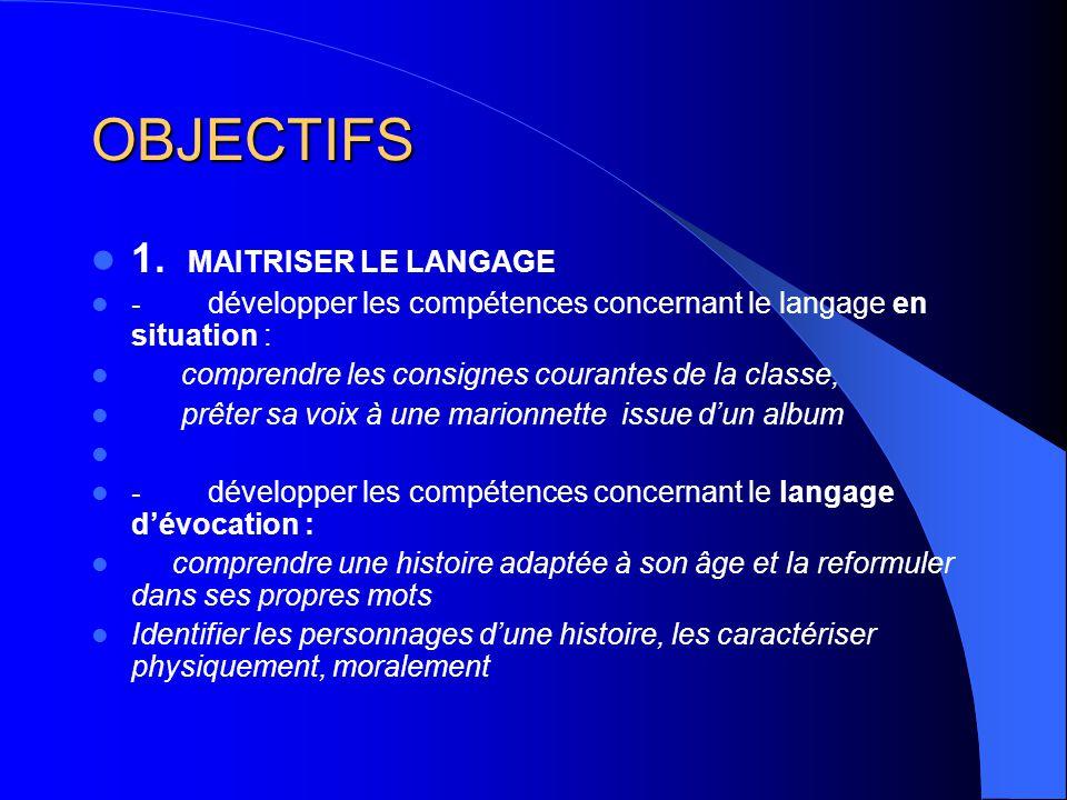 OBJECTIFS 1. MAITRISER LE LANGAGE